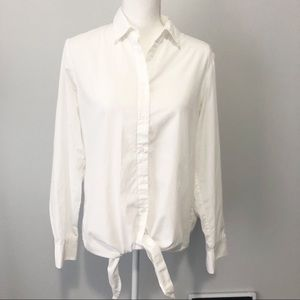 Banana Republic white tie bottom button down